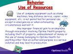 behavior use of resources