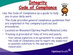 integrity code of compliance
