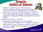 integrity conflict of interest