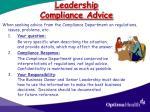 leadership compliance advice