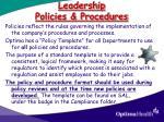 leadership policies procedures