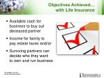 objectives achieved with life insurance