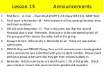 lesson 13 announcements