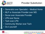 provider substitution