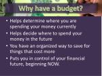 why have a budget