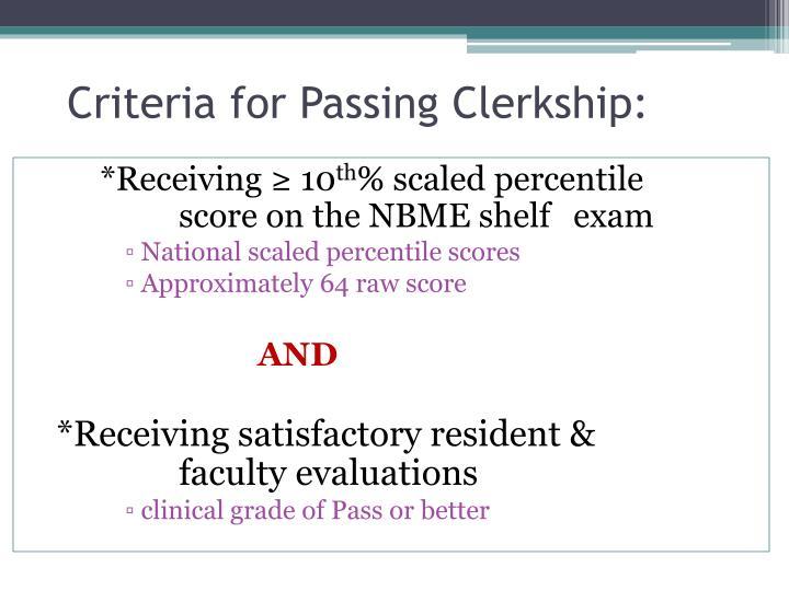 Criteria for Passing