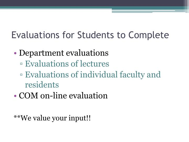 Evaluations for Students to Complete