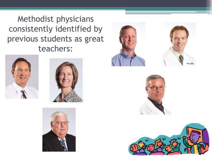 Methodist physicians consistently identified by previous students as great teachers: