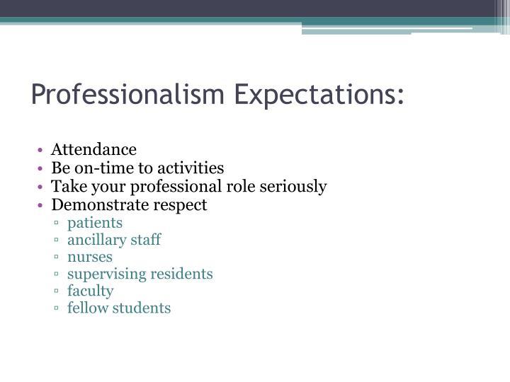Professionalism Expectations: