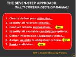 the seven step approach multi criteria decision making