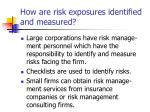 how are risk exposures identified and measured