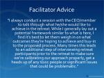 facilitator advice