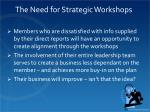the need for strategic workshops