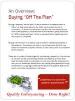 an overview buying off the plan