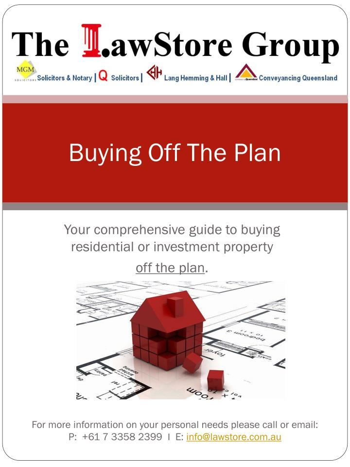 buying off the plan n.