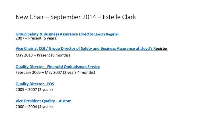 New Chair – September 2014 – Estelle Clark