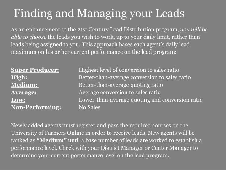 Finding and Managing your Leads