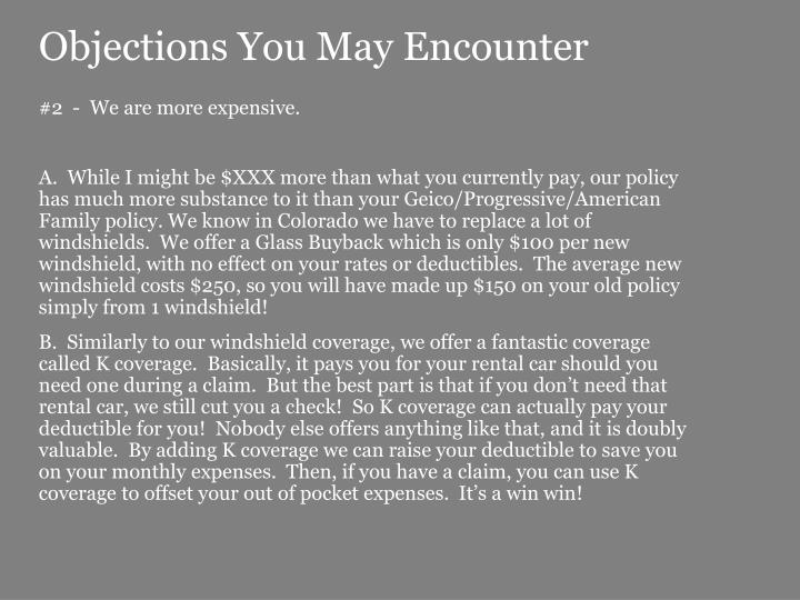 Objections You May Encounter