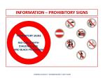 information prohibitory signs