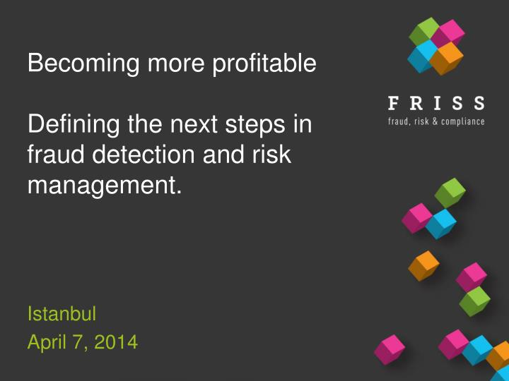 becoming more profitable defining the next s teps in fraud detection and risk management n.