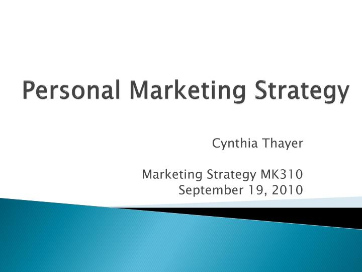 personal marketing strategy n.