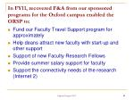 in fy11 recovered f a from our sponsored programs for the oxford campus enabled the orsp to