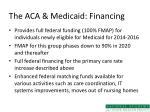 the aca medicaid financing
