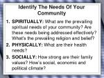 identify the needs of your community