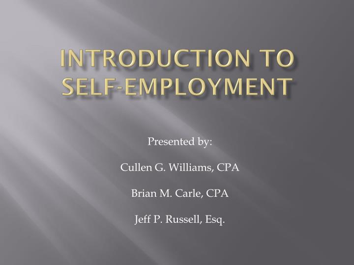 Introduction to self employment