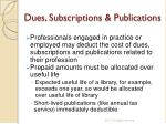 dues subscriptions publications