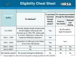 eligibility cheat sheet