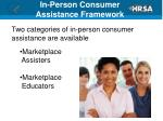 in person consumer assistance framework