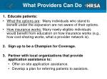 what providers can do