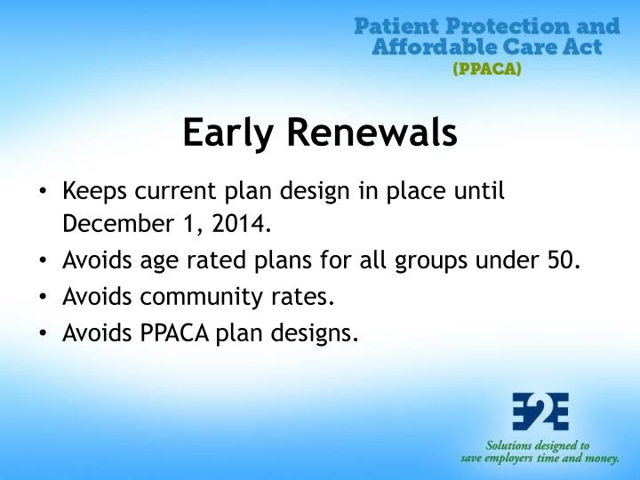 Early Renewals