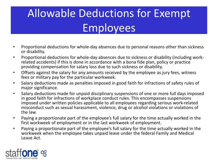 Allowable Deductions for Exempt Employees