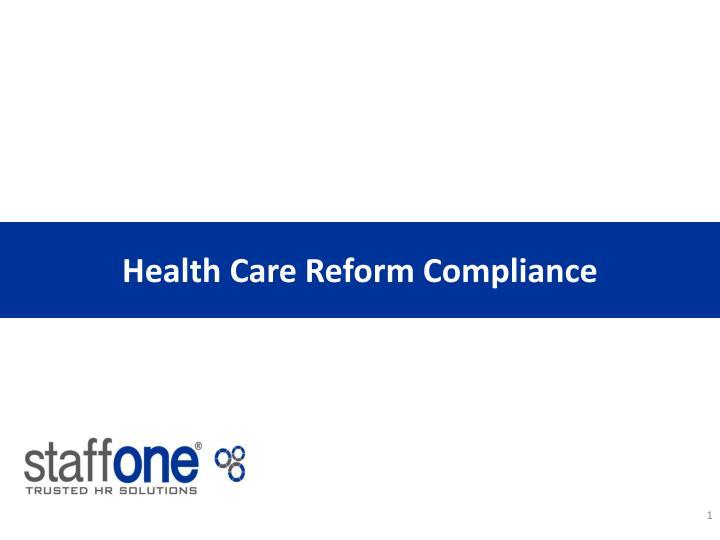 Health Care Reform Compliance