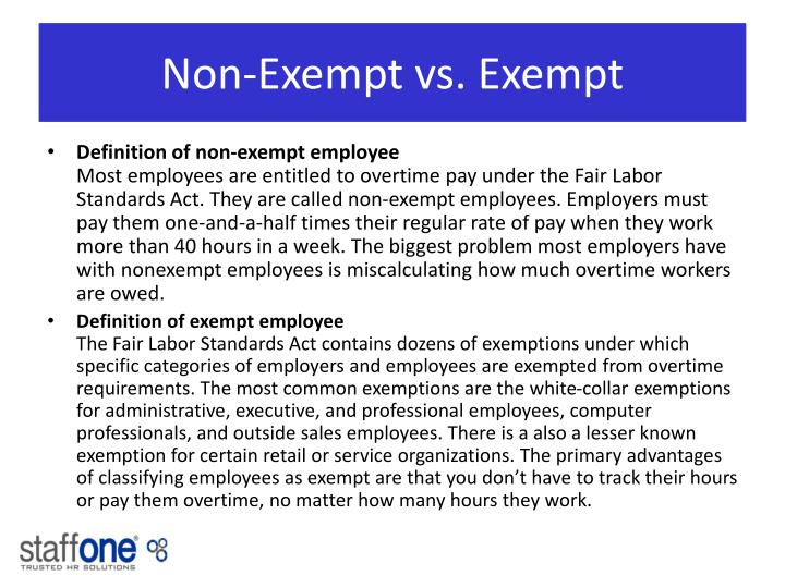 Non exempt vs exempt