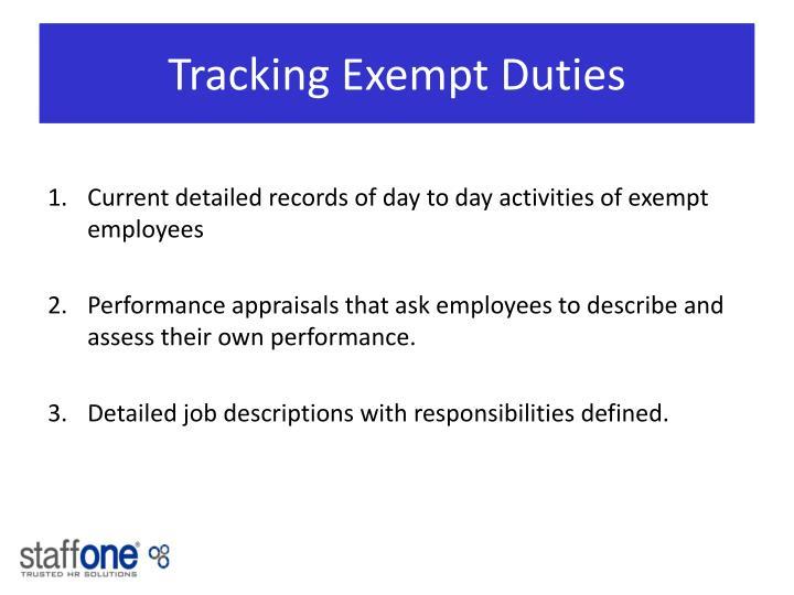 Tracking Exempt Duties