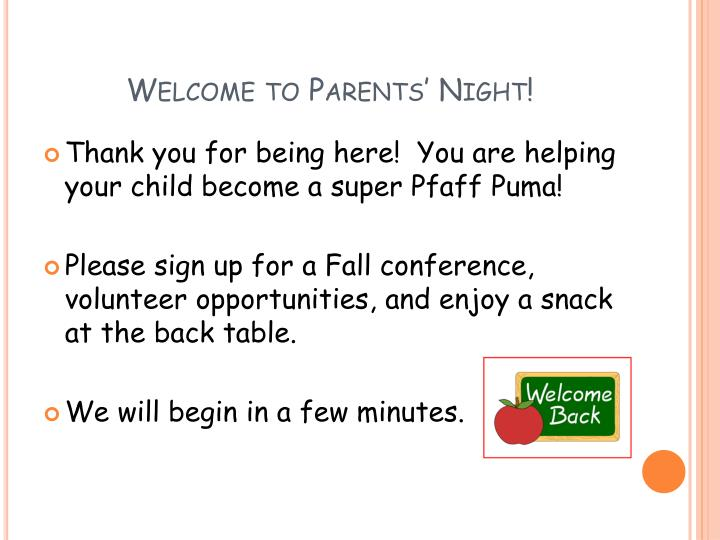 welcome to parents night n.