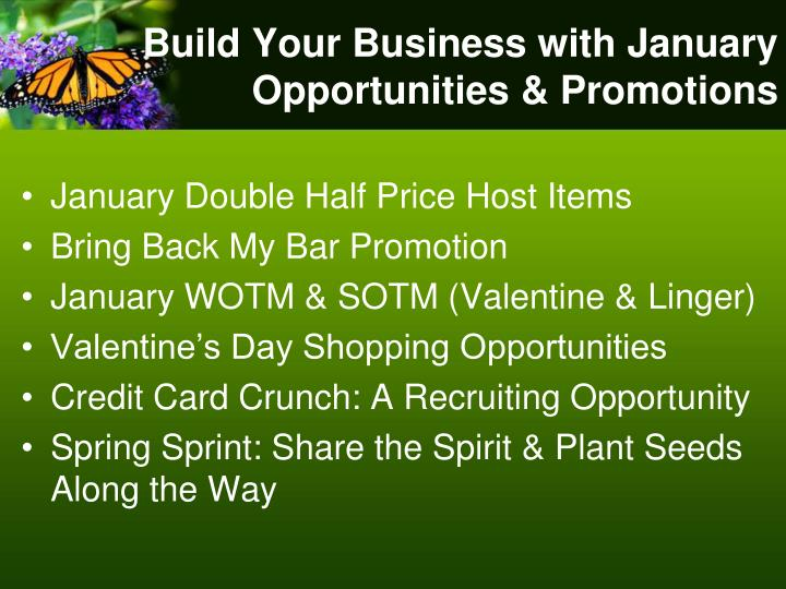 Build Your Business with January Opportunities & Promotions