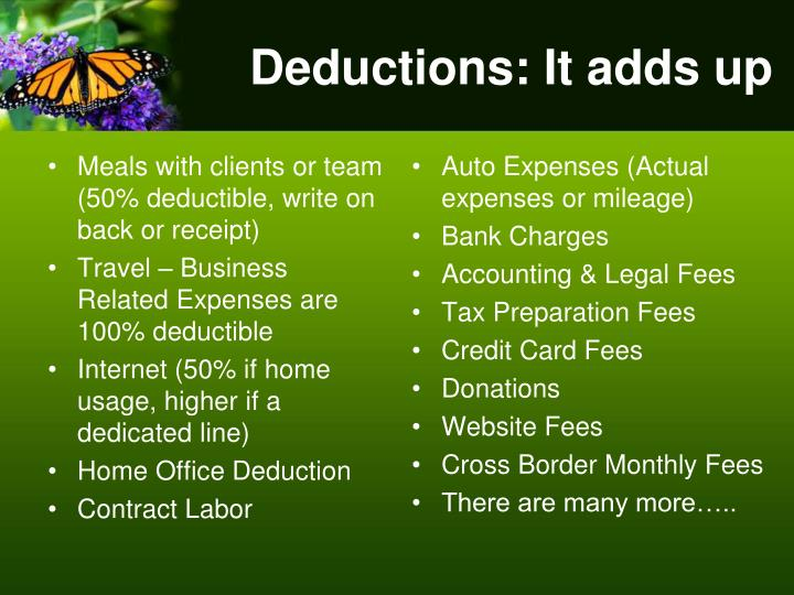 Deductions: It adds up