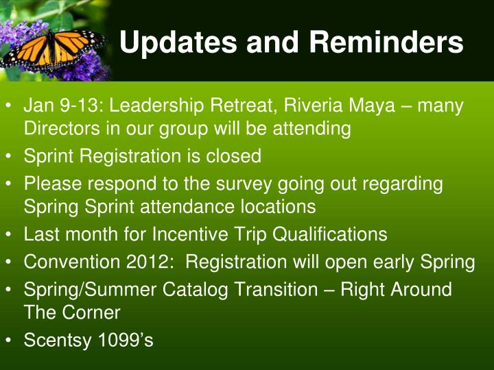 Updates and Reminders