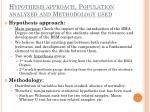 hypothesis approach population analyzed and methodology used