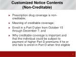customized notice contents non creditable