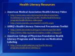 health literacy resources