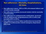 non adherence mortality hospitalizations ed visits