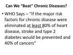can we beat chronic diseases