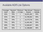 available agr lite options