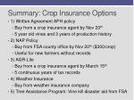 summary crop insuranc e options