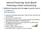 internal financing asset based financing e asset restructuring
